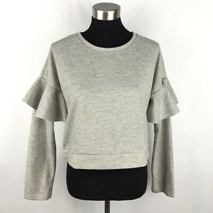 Romeo + Juliet Couture Ruffled Sweatshirt in Gray